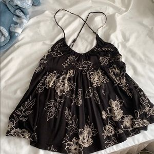Urban Outfitters Black Floral Tank